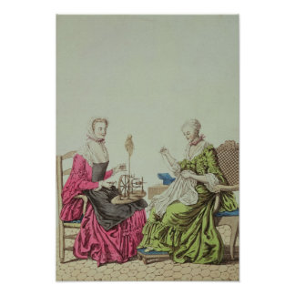 Ladies spinning and sewing, c.1765 poster