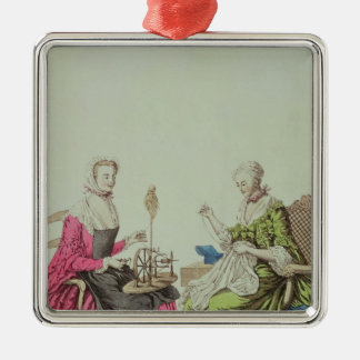 Ladies spinning and sewing, c.1765 Silver-Colored square decoration