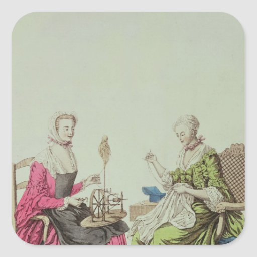 Ladies spinning and sewing, c.1765 square stickers