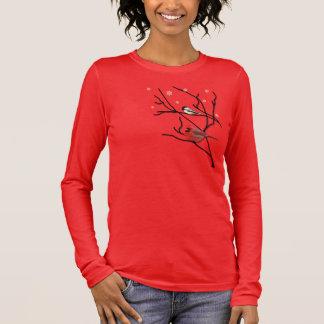 Ladies T Shirt Cardinal & Chickadee on a Branch