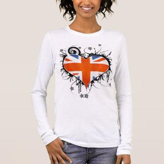 Ladies Union Jack Floral Heart T-shirt