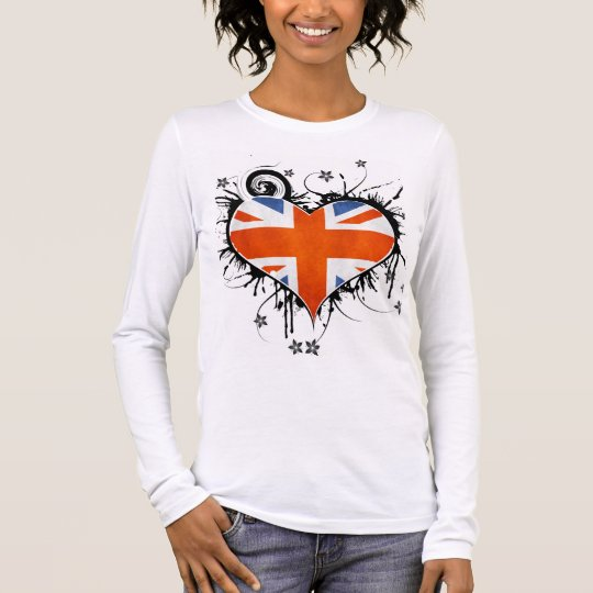 Ladies Union Jack Floral Heart T-shirt