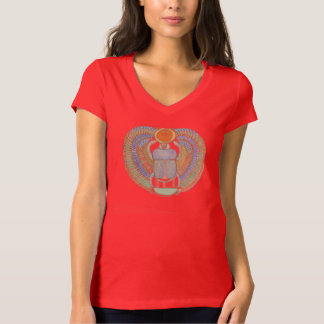 Ladies V neck T shirt with Scarab Design