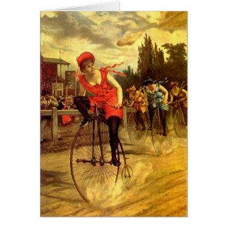 LADIES VINTAGE BIKE RACING BICYCLE RACE CARD