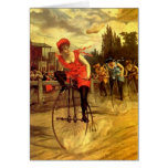 LADIES VINTAGE BIKE RACING BICYCLE RACE GREETING CARD