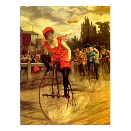 LADIES VINTAGE BIKE RACING BICYCLE RACE POSTCARD