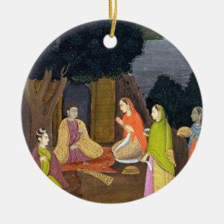 Ladies visiting a Yogini, School of Faqurullah Kha Round Ceramic Decoration