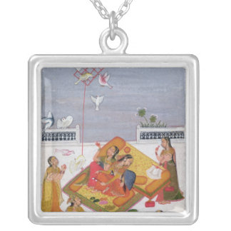 Ladies Watching Pigeons, 1770 Silver Plated Necklace
