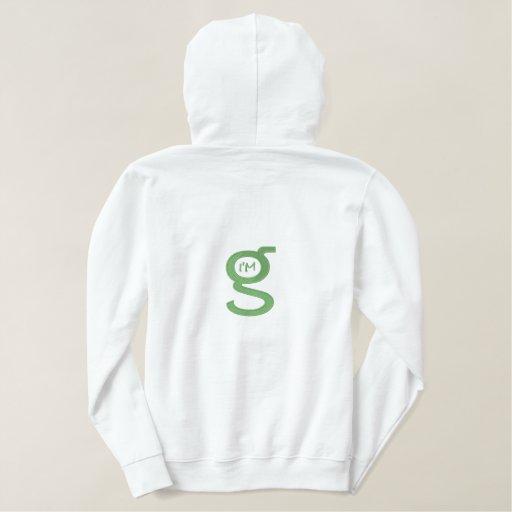 Ladies White Hoodie w Lt. Green Logo on