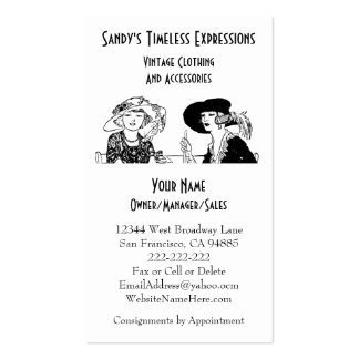 Ladies with Hats Vintage Fashion Custom Clothing Business Cards
