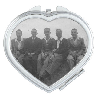 Lads Day Out Vintage Image Heart Compact Mirror