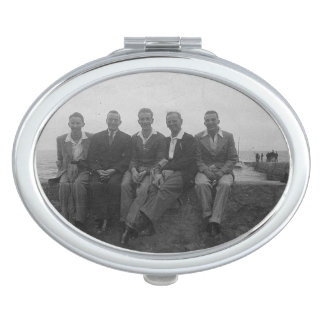 Lads Day Out Vintage Image Oval Compact Mirror