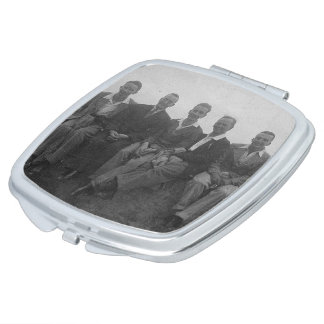Lads Day Out Vintage Image Square Compact Mirror