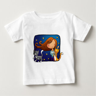 Lady and 2 cats baby T-Shirt