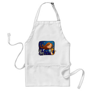 Lady and 2 cats standard apron