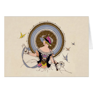 Lady and Butterflies - Art Deco illustration card