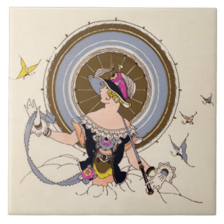 Lady and Butterflies - Art Deco illustration tile