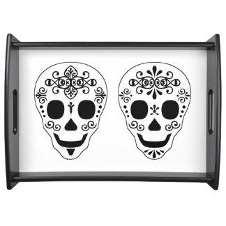 Lady and Gent Sugar Skull by Leslie Peppers Serving Tray