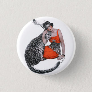 Lady and Leopard 3 Cm Round Badge