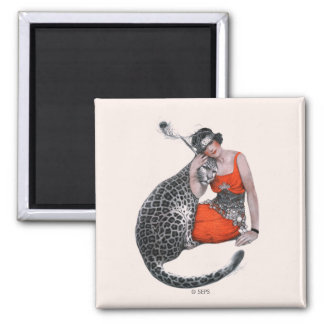 Lady and Leopard Square Magnet