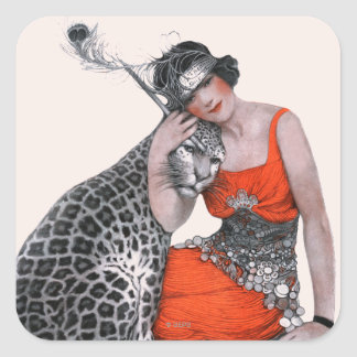 Lady and Leopard Square Sticker