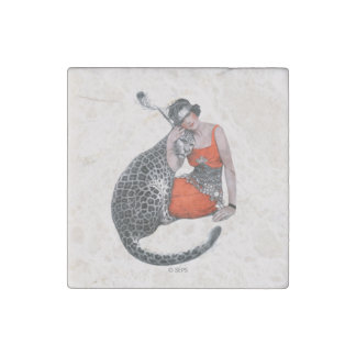 Lady and Leopard Stone Magnet