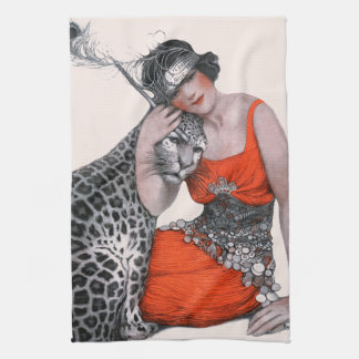 Lady and Leopard Tea Towel