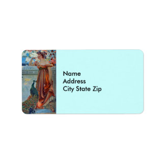 Lady and peacock address label