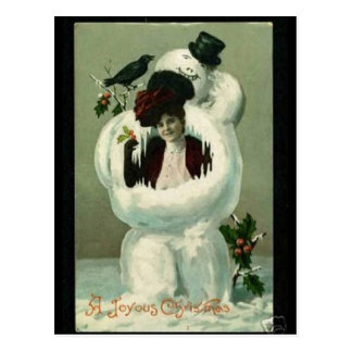 Lady and Snowman Postcard