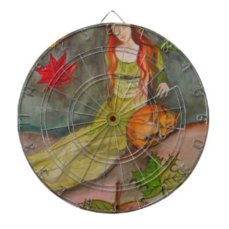 Lady and The Fox Dartboard With Darts