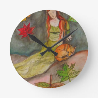 Lady and The Fox Round Clock