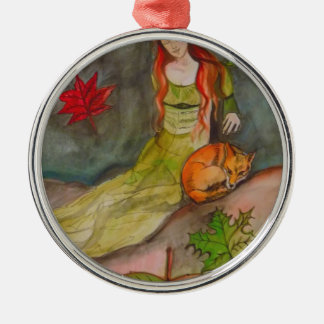Lady and The Fox Silver-Colored Round Decoration