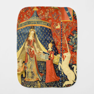 Lady and the Unicorn Medieval Tapestry Art Baby Burp Cloths