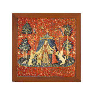 Lady and the Unicorn Medieval Tapestry Art Desk Organiser