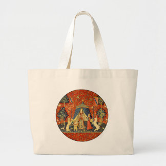 Lady and the Unicorn Medieval Tapestry Art Large Tote Bag