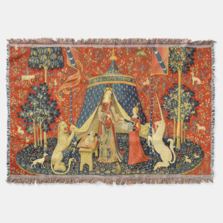 Lady and the Unicorn Medieval Tapestry Art Throw Blanket