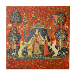 Lady and the Unicorn Medieval Tapestry Art Tile