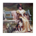 Lady and Two Pet Dogs painting Tile