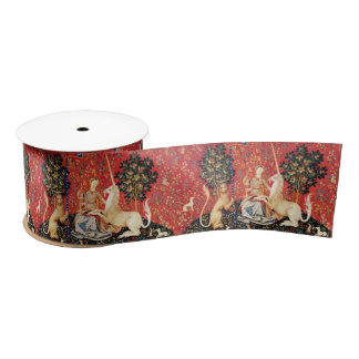 LADY AND UNICORN Lion,Fantasy Flowers,Animals Satin Ribbon