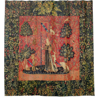 LADY AND UNICORN Lion,Fantasy Flowers,Animals Shower Curtain