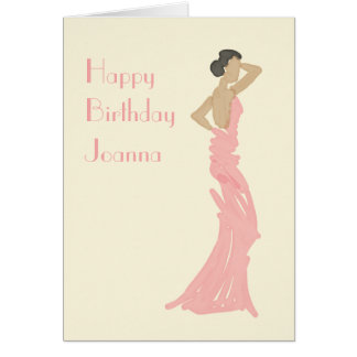 Lady backless dress birthday greetings card