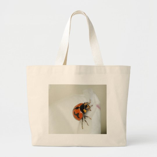 Lady Beetle Climbing High Large Tote Bag