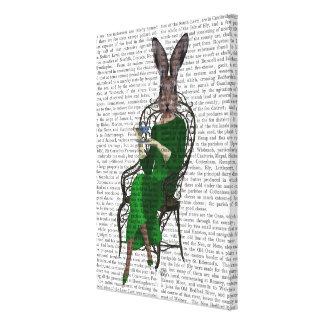 Lady Bella Rabbit Taking Tea Canvas Print