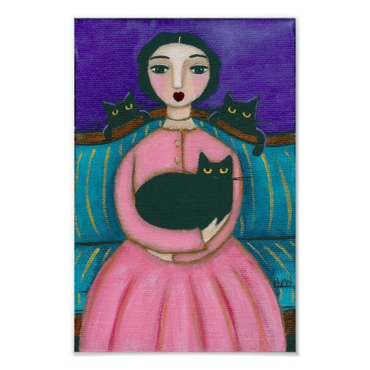 Lady & Black Cats Poster