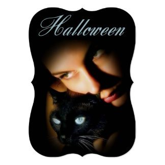 """Lady & Blue Eyed Cat Adult Halloween Party Invite 5"""" X 7"""" Invitation Card"""