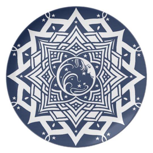 Lady Blue Moon Mandala Plate