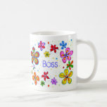 Lady Boss, Big Flowers Coffee Mug