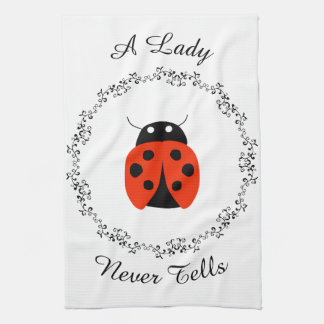 Lady Bug - A Lady Never Tells Personalized Tea Towel