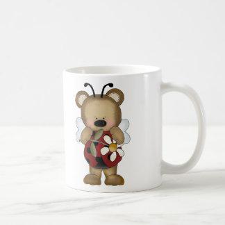 Lady Bug Baby Bear With Daisy Basic White Mug