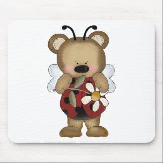 Lady Bug Baby Bear With Daisy Mouse Pad
